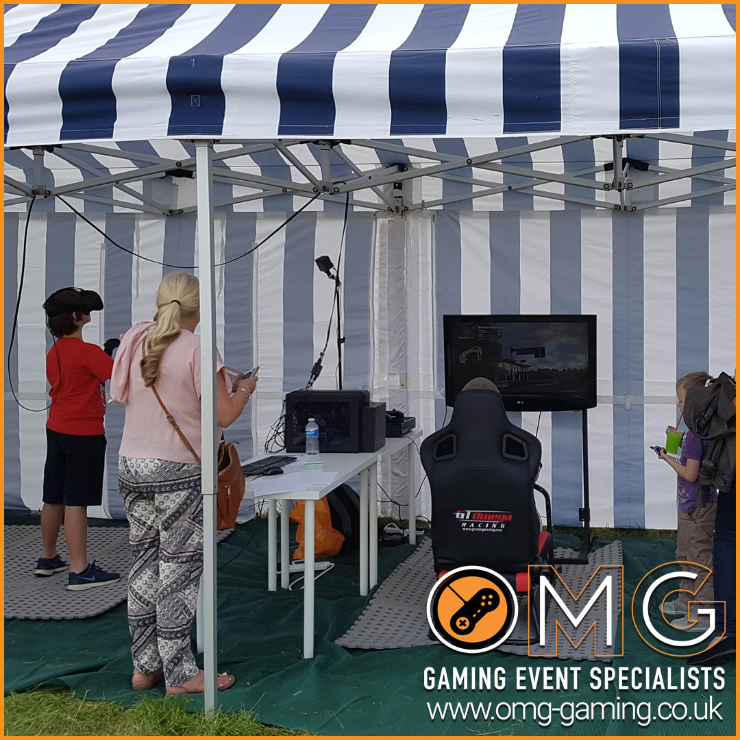 Virtual Reality and Racing Simulator stand at Market Harborough Summer Fair