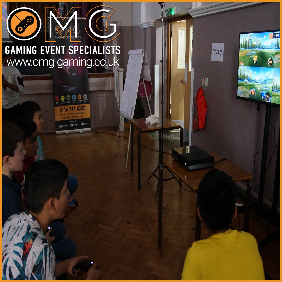 Console gaming at a School Reward Day in Birmingham